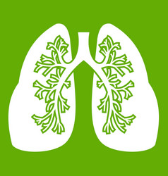 lungs icon green vector image