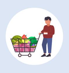 man grocery shop customer pushing trolley cart vector image