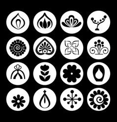 mandalas monochrome boho style set vector image
