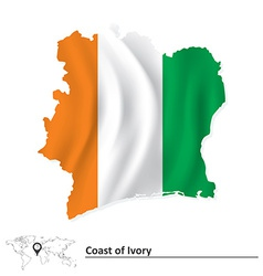 Map of Coast of Ivory with flag vector image