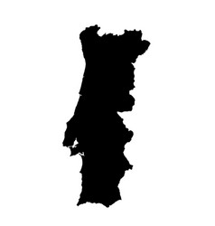 Map portugal isolated black vector