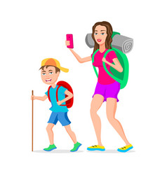 mom and son tourist hipster funny cartoon vector image