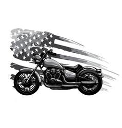 Monochromatic vintage american chopper motorcycle vector