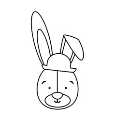 Monochrome contour with face of groom rabbit vector