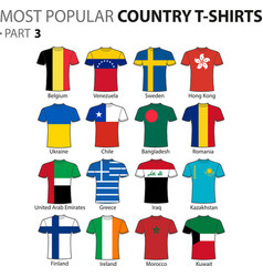 most popular country t-shirts part 3 vector image