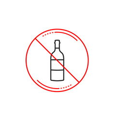 No or stop sign wine bottle line icon merlot or vector