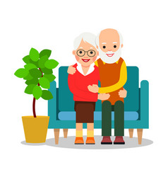 Old couple sitting an older man and woman are vector