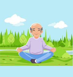 Old man grandfather outdoor park nature fitness vector