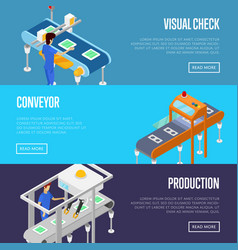 Production line isometric 3d posters set vector