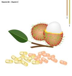 Rambutans with Vitamin B3 and Vitamin C vector