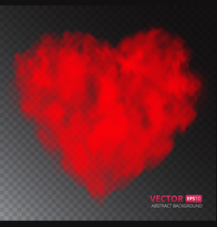 red heart of fog or smoke isolated on transparent vector image