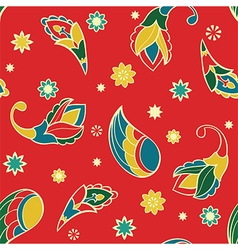 Red pattern with cartoon elements vector