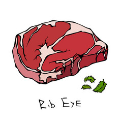 Rib eye steak cut isolated on white vector