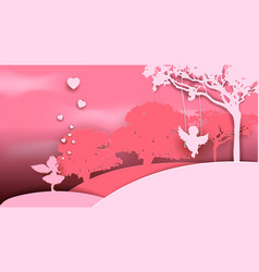romantic in style a paper vector image
