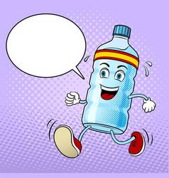 run bottle of water pop art vector image