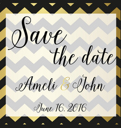 save the date invitation chevron zic zac design vector image