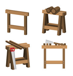 Sawhorses for carpenters and joiners with wood vector
