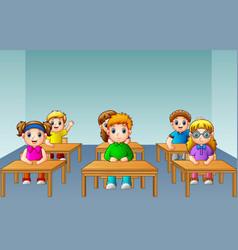 School kids studying in classroom vector