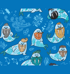 seamless pattern with hipster walruses with beards vector image