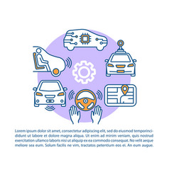 Self-driving car article page template driverless vector