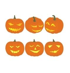 Set cheerful funny and angry pumpkins at vector
