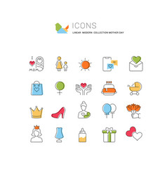 Set line icons mothers day vector