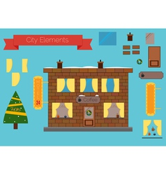 Set of building elements flat design Christmas tre vector