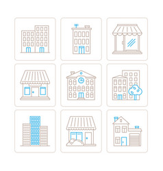 set of building icons and concepts in mono thin vector image