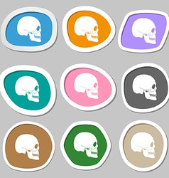 Skull symbols Multicolored paper stickers vector image
