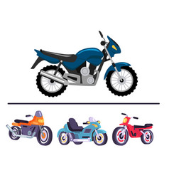 Sport motorcycles in shiny polished corpuses set vector