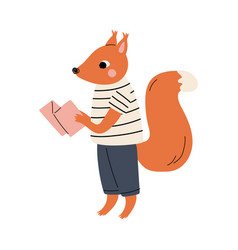 Squirrel standing with map funny humanized animal vector
