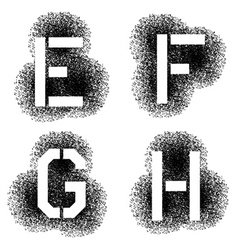 stencil angular spray font letters E F G H vector image