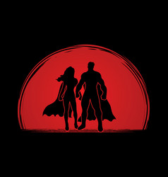 super hero man and woman standing graphic vector image