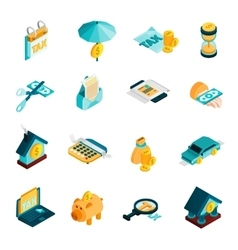 Tax Isometric Icons Set vector image