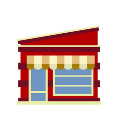 the facade of the shop with a sloping roof and a vector image