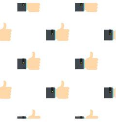 Thumb up gesture pattern flat vector