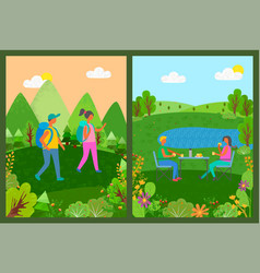 touristic people couple in forest eating food set vector image