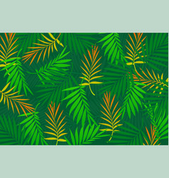 Tropical leaves palm background vector