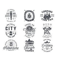 vintage hand drawn travel badge and emblem set vector image
