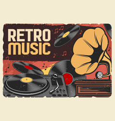 vinyl records retro music and gramophone vector image