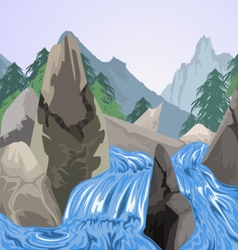 Waterfall nature vector