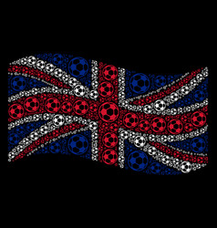 Waving united kingdom flag collage of football vector