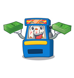 with money bag slot machine next to cartoon chair vector image