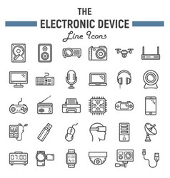 electronic device line icon set technology vector image vector image