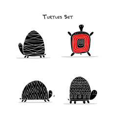 funny turtles set sketch for your design vector image
