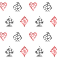 Hand drawn sketched Playing cards symbol seamless vector image