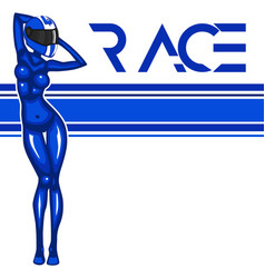 rally race banner with girl vector image vector image