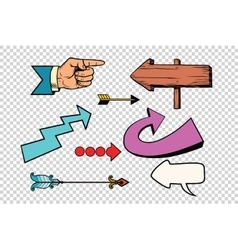 Retro set of arrows on a transparent background vector image vector image