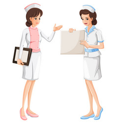 two nurses in blue and pink uniform vector image
