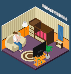 breastfeeding isometric composition vector image